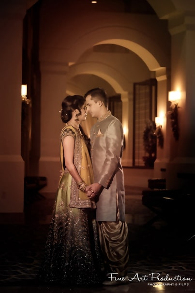 Graceful Indian bride and groom.