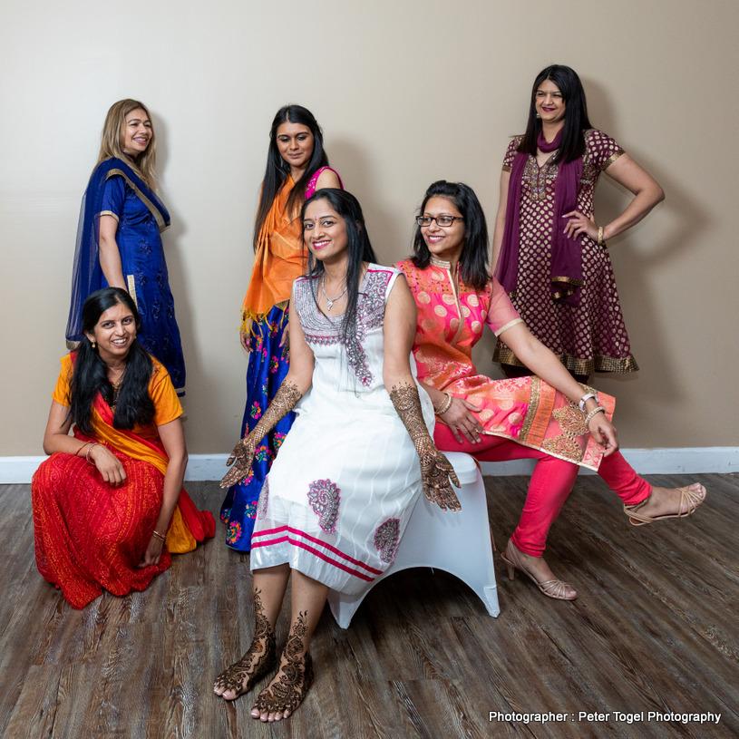 Mehndi with bridesmaids