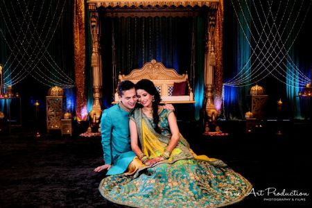 Indian Bride and Groom ready for Sangeet Ceremony