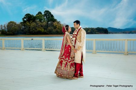 Indian bride and groom looking stunning