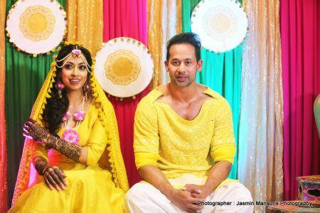 Bride and groom after haldi ceremony