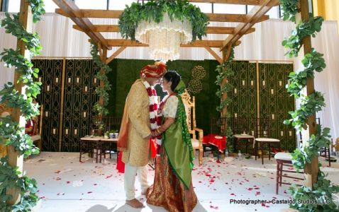 Incredible picture of Indian bride and groom at   mandap
