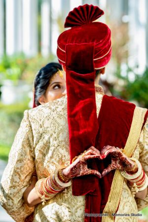 Indian bride and groom romantic first glance.
