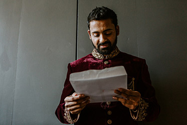 Indian Groom Reading Indian Bride's Letter
