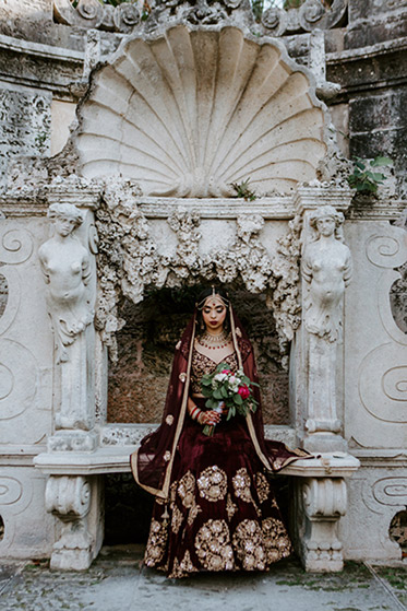 Indian Bride with Wedding Flower bouquet