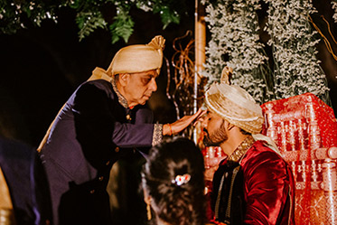 Father in Law Doing Tilak to Indian Groom