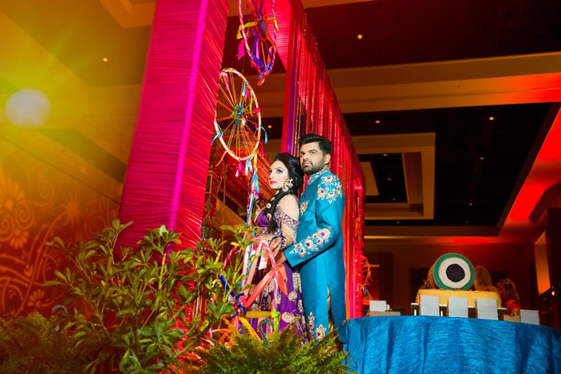Lovely Indian Couple in their Sangeet Outfit