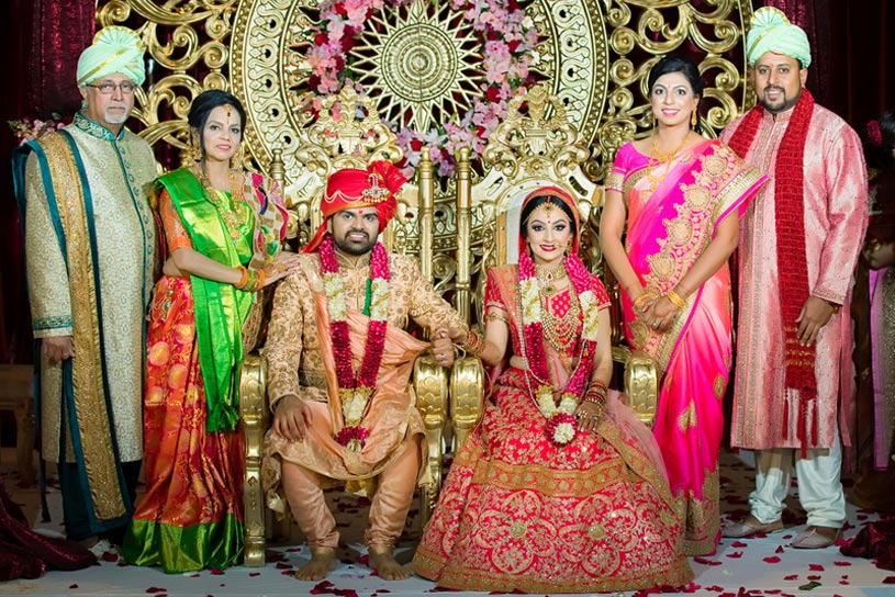 Indian Bride and Groom with Their Family