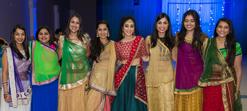 Indian Bride and Bridesmaids in Sangeet Outfit