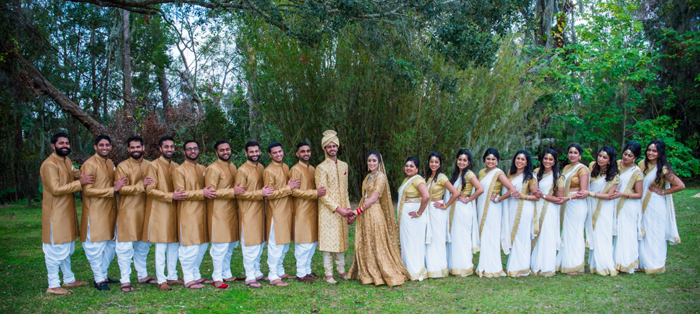 Indian Bride and Groom with Bridesmaids and Groomsmen Outdoor Photoshoot