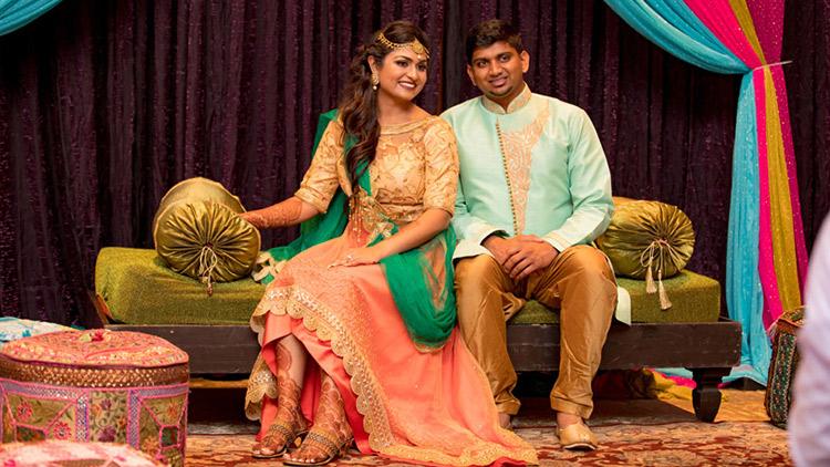 Ravishing Indian Couple in Sangeet Outfit