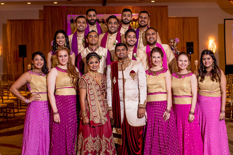 Indian Bride and Groom with Bridesmaids and Groomsmen Photography