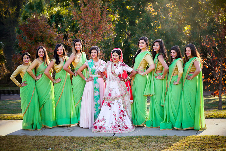 Indian Bride Posing with Bridesmaids