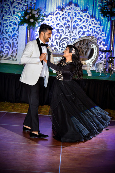 Indian Bride and Groom Doing Dance Performance in Wedding Reception