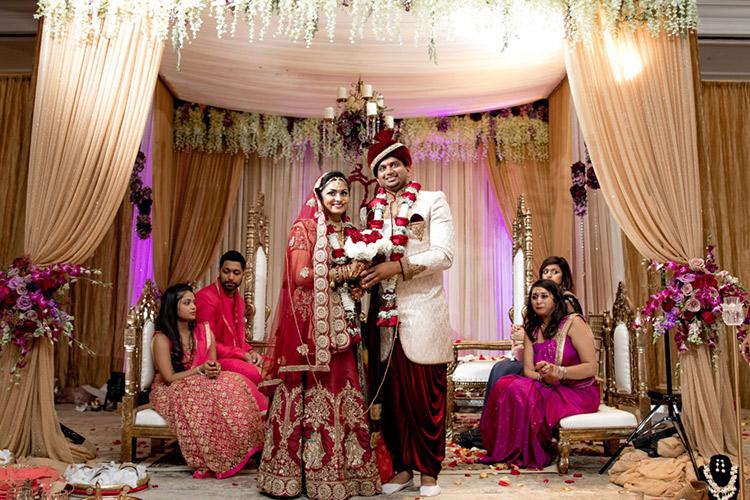 Gorgeous Indian Bride and Groom under Wedding Mandap