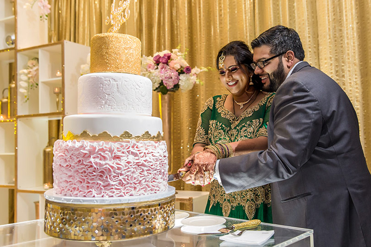 Cake Cutting Capture of Love Birds at Reception Ceremony