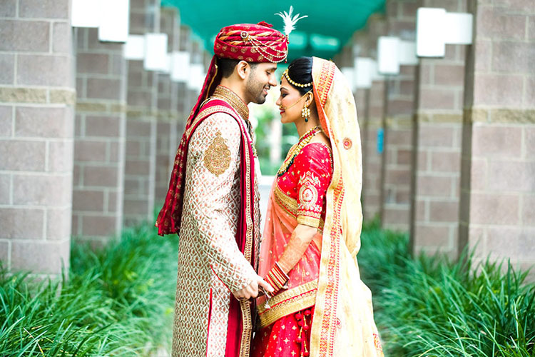 Lovely Indian Couple on their Wedding Ceremony Outfit
