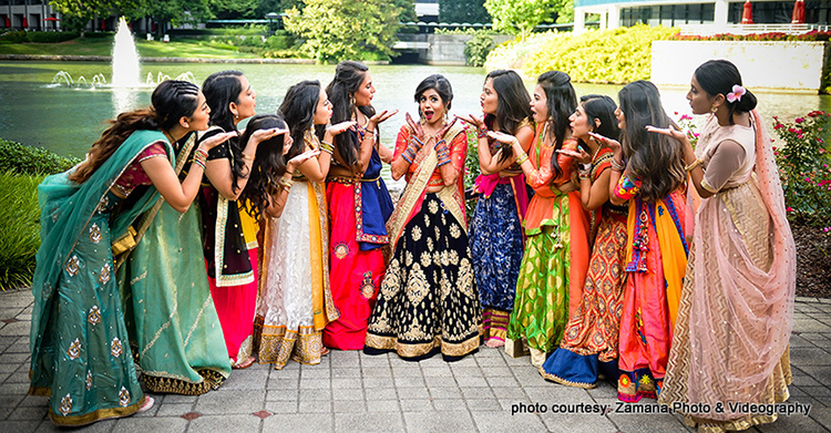 Marvelous Capture of Indian Bride with Bridesmade