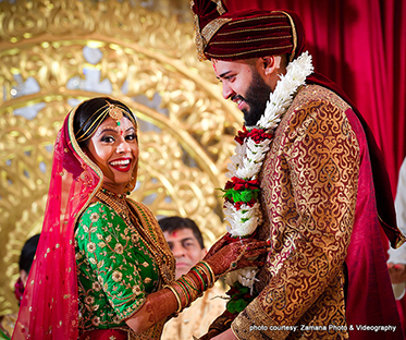 Indian Bride and Groom Enjoying Wedding Rituals