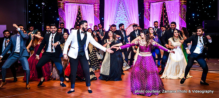 Dance with groomsmen and bridesmaids