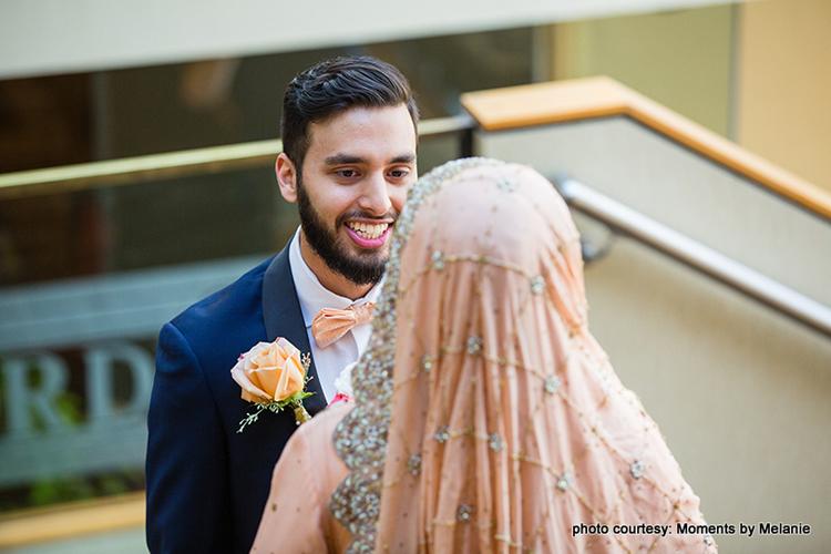 Overwhelmed Groom seeing the bride