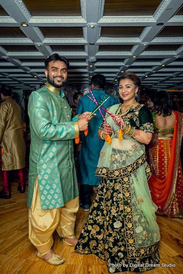 Indian couple at Wedding sangeet