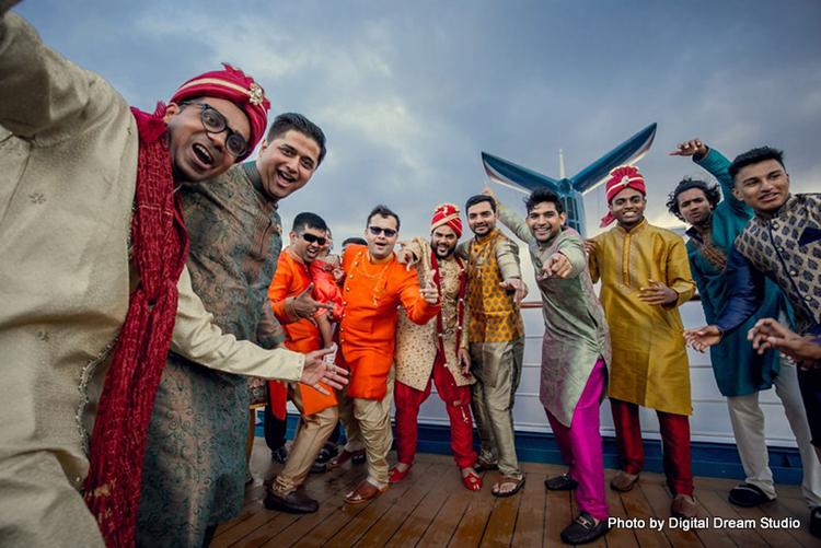 Fun Capture of the groom with Groomsmen