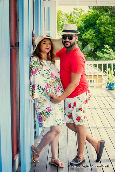 Floral wear by indian couple
