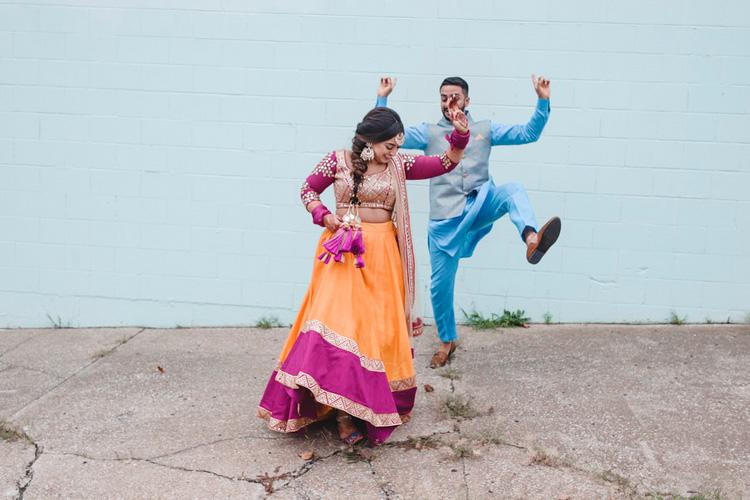 Indian Bride Dancing with Indian Groom