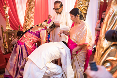 Bride and Groom taking the blessings from their Parents