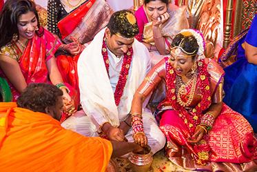 Indian Bride and Goom Under Wedding Mandap