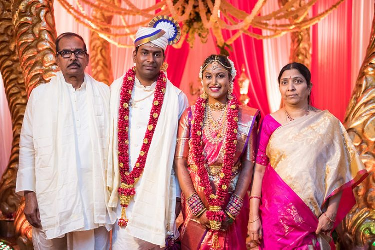 Indian Bride and Groom With Their Parents Capture