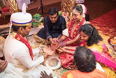 Indian Bride and Groom doing Indian Wedding Ritual