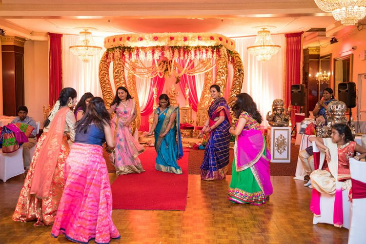 Indian Wedding Guest Dancing in a Group