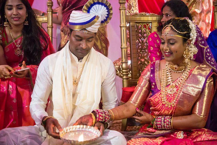 Indian Bride and Groom Lightning Diya