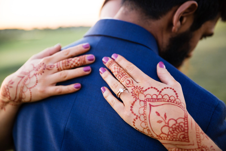 Indian Bride and Groom Hugging to Each Other