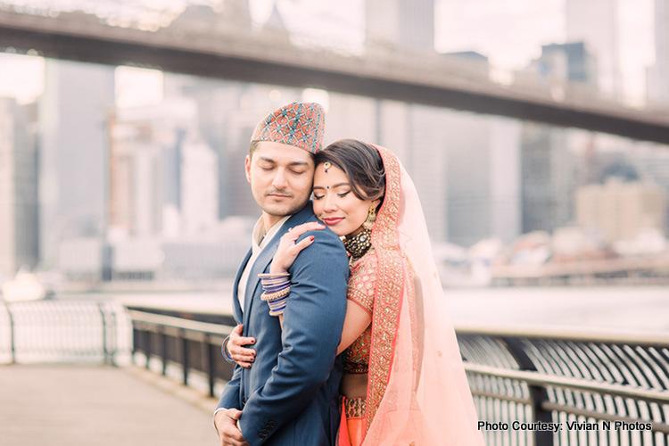April and Avi Hindu Wedding Style shoot in Brooklyn Bridge Park, New York by Vivian N Photos