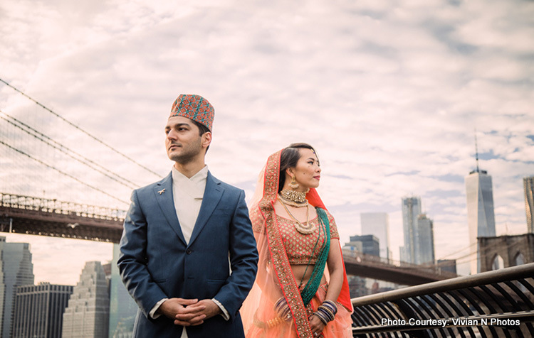 Indian Bride and Groom Possing for Outdoor Photoshoot