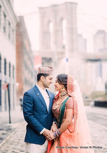 Indian bride and Groom in wedding Attire