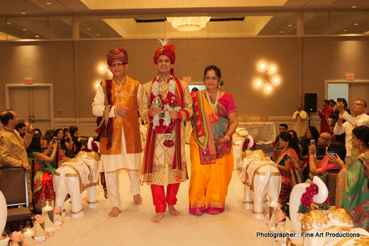 Indian Groom Arriving with parents