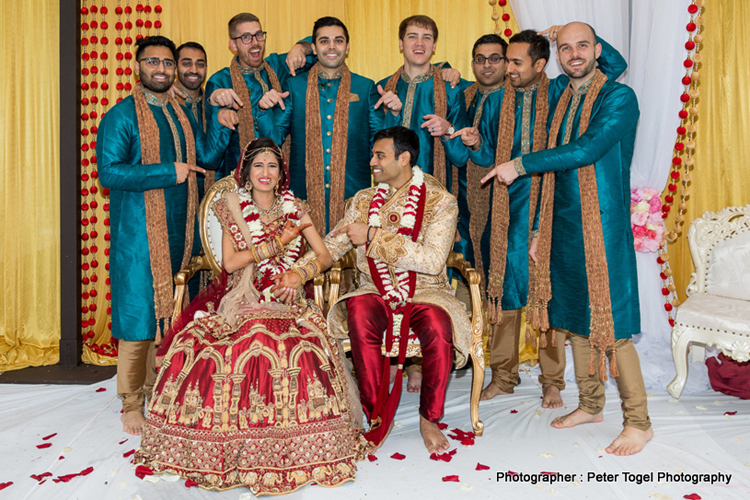 Indian Couple With the Groom's Maids