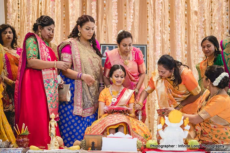 Family members applying haldi to the bride