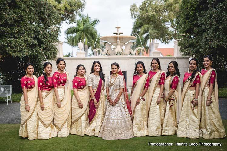 Indian Bride with bridesmaid