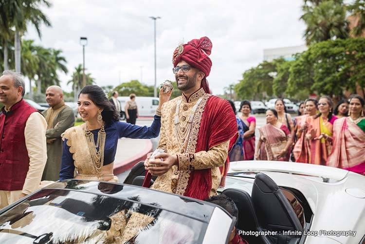 Indian Groom arriving with groomsmen