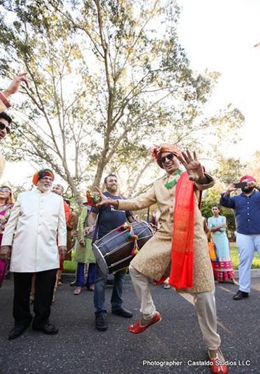 Indian Groom Dancing at his Baraat Posseccion