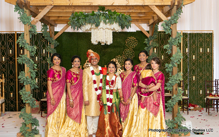Indian Couple with Bridesmaids Capture