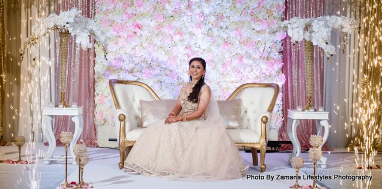 Bride posing at the wedding reception