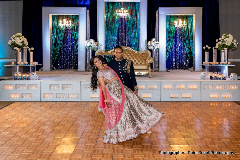 Indian Bride and groom during reception Ceremony