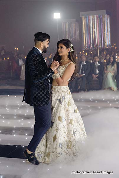 Indian Bride and Groom Dancing during reception Ceremony