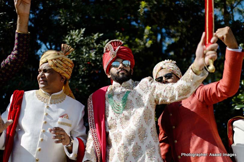 Indian Groom Dancing with Wedding Guest